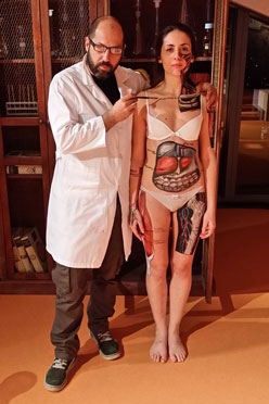 Body painting di anatomia per un evento Sky Discovery channel del 2015.